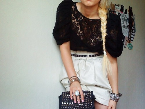 black, blonde, fashion, girl, lace, purse, rings, shorts, white