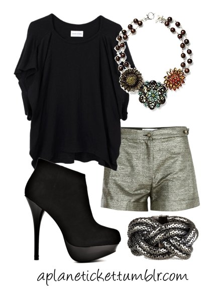 black, booties, fashion, necklace, outfit, polyvore, silver