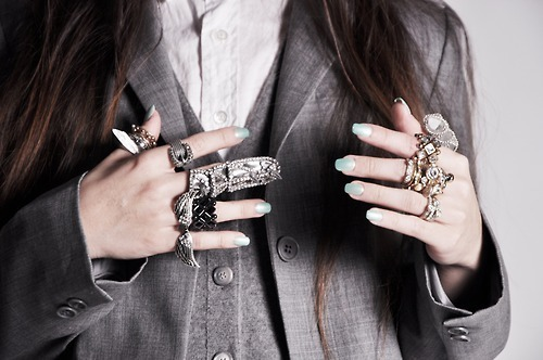 blue nails, brown, brown hair, fashion, grey