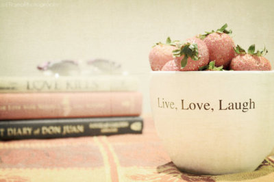 books, cup, laugh, live, love, pink, strawberries, strawberry