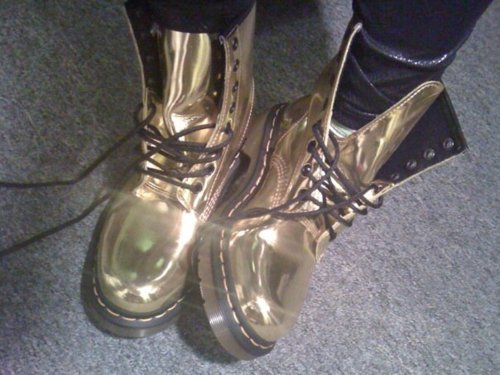 boots, doc martens, gold, metallic, shiny