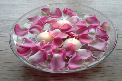 bowl, candles, elegance, pink, romance, romantic, roses, water