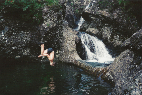 boy, falls, photography, rocks, water