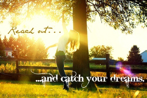 bright, dream, dreams, girl, grass, green, hair, light, nature, pretty, quote, sky, sun, tree, typography, yellow