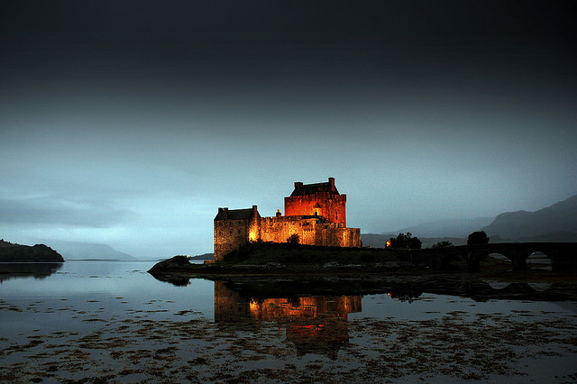 castle, light, night, scotland