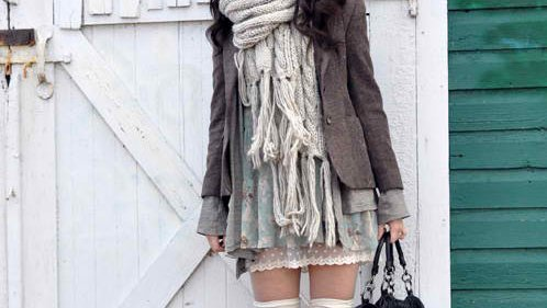 coat, fashion, grey, scarf, socks