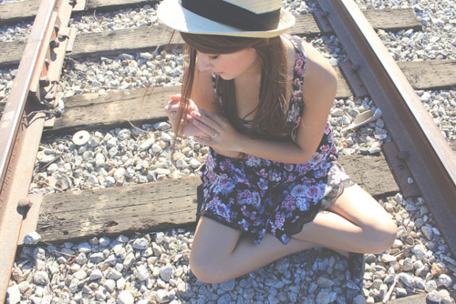 cute, dress, dress i love, fashion, floral, girl, hat, light, summer, tracks, train