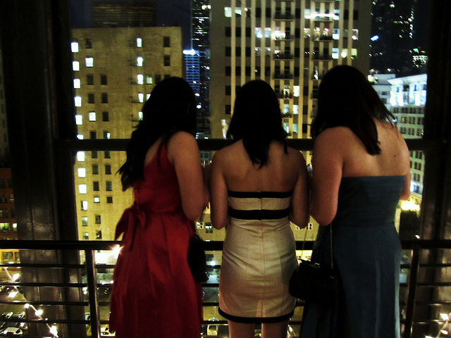 downtown, dresses, girls , looking out window, los angeles