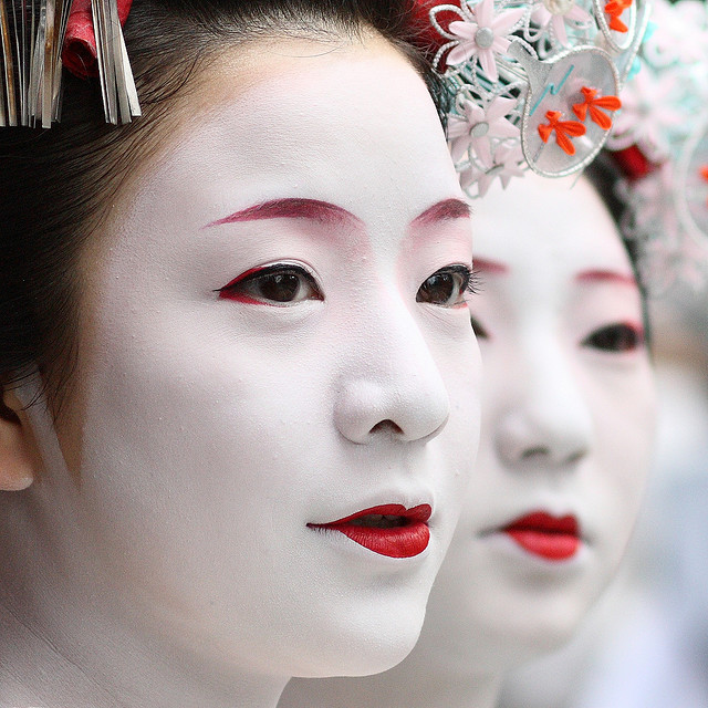 faces, geisha, red lips