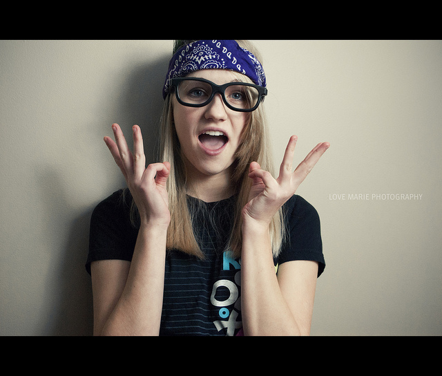 3d glasses, bandana, girl, glasses, heidi