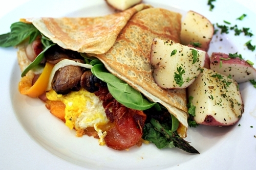 apples, bacon, breakfast, crepe, egg