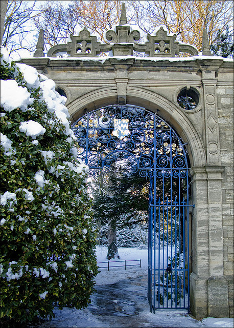 arch, england, frost, gate, gateway, oxford, oxford university, snow, trinity college, winter
