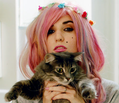 audrey, audrey kitching, beautiful, beauty, buzznet, cat, girl, hair, photo diary new years eve, pink hair, scene queen