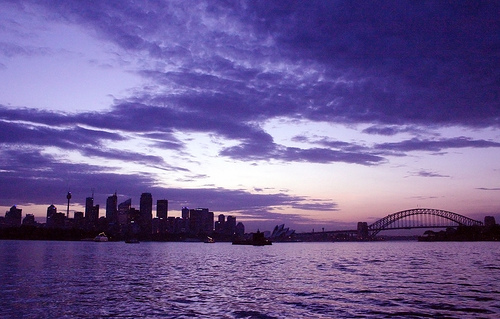 australia, purple, sunset, sydney