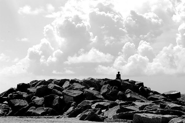 beach, black and white, boy, clouds, jetties