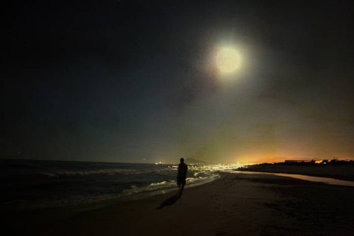 beach, moon, ocean, sea, shadow