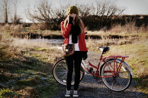 beanie, bicycle, bike, clothes, fashion, girl, outfit, photography, vintage