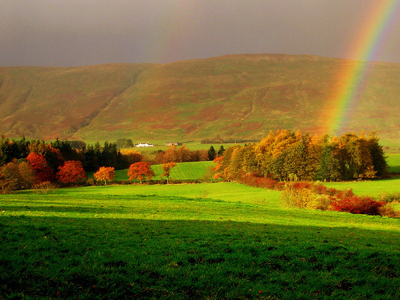 beautiful, believe, countryside, grass, green, hills, landscape, meadows, peacefullness, photography, rainbow, sky, trees