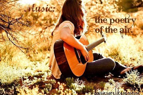 beautiful, bright, brown, girl, guitar, hair, light, music, nature, poetry, pretty, quote, sun, text, typography, woman
