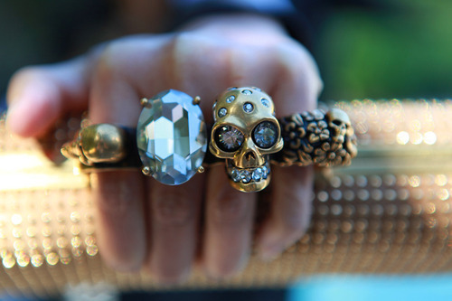 beautiful, diamond, fingers, girly, hand, rings, skull, wallet