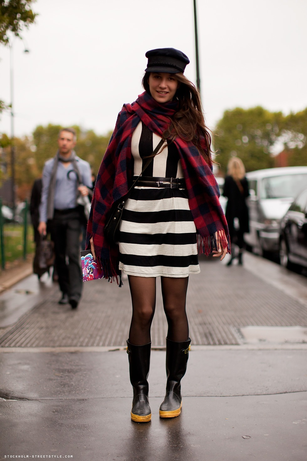 belt, boots, brunette, checked, dress