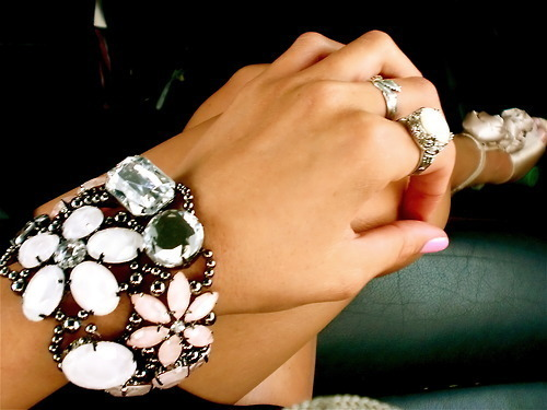 big, bracelet, flower, gem, hand, nails, pearls, pretty, ring