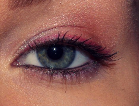 blue, eye, eyeliner, eyeshadow, green, makeup, mascara, pink