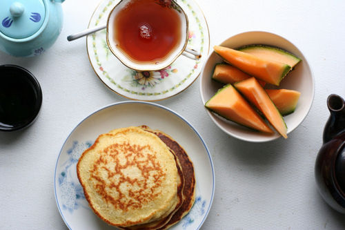 breakfast, cantaloupe, food, pancakes
