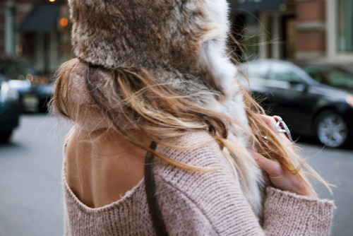 brown, fur, pink, rumi neely, sweater