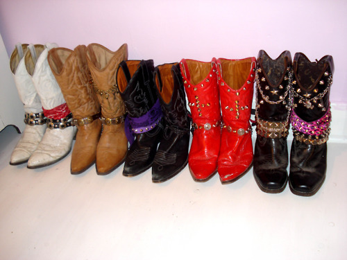 chains, cowboy boots, diy, leather, red, sleaze, studs, western