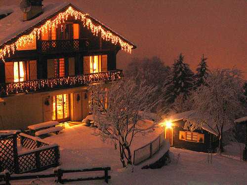 christmas, house, lights, winter