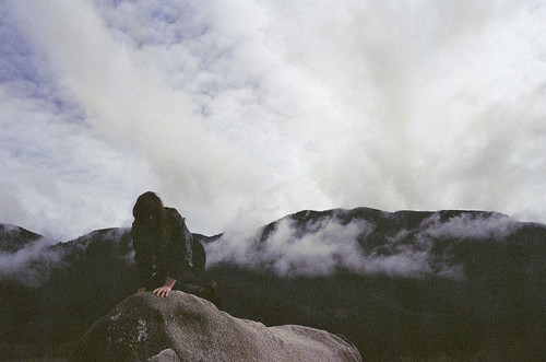 climbing, clouds, girl, heaven, rock, vintage