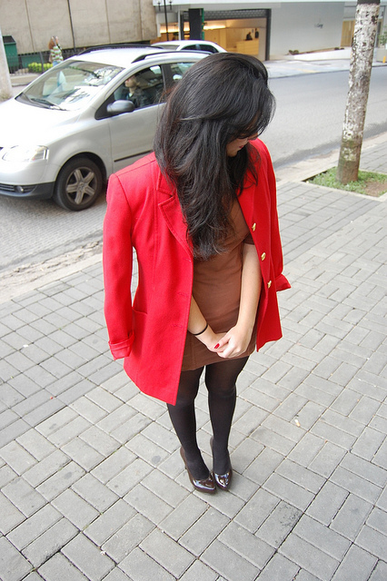 coat, fashion, girl, hair, hosiery, red