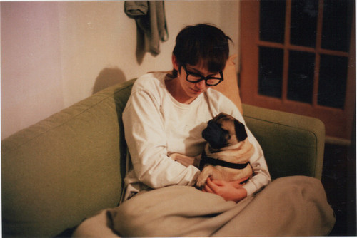 dog, girl, glasses, sweter