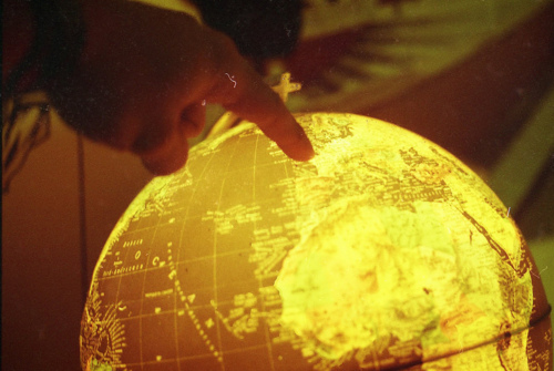 earth, film, globe, hand, light
