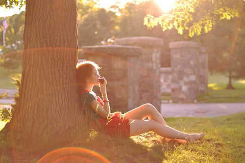 girl, sunlight, tree