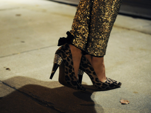 gold, leopard, shoes