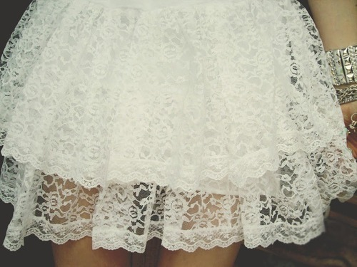 lace, pretty, skirt, white