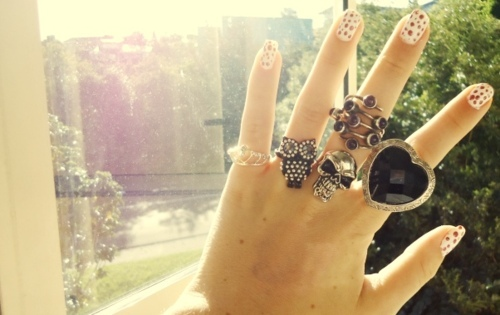 nails, owl, rebecca freeman, ring, skull